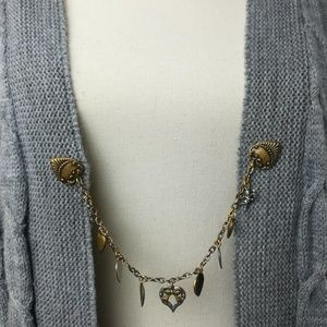 Vintage Sweater Cardigan Clip Silver Copper Pewter
